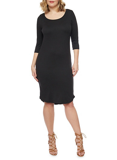 Plus Size ¾ Sleeve Solid T Shirt Dress,BLACK,large