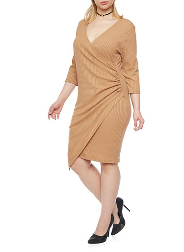 Plus Size Faux Wrap Dress with Asymmetrical Hem,BRONZE,large