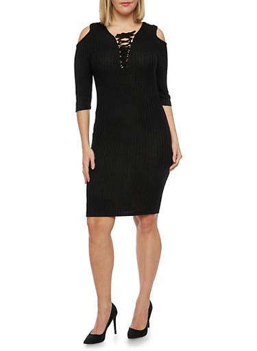 Plus Size Lace Up Cold Shoulder Sweater Dress,BLACK,large