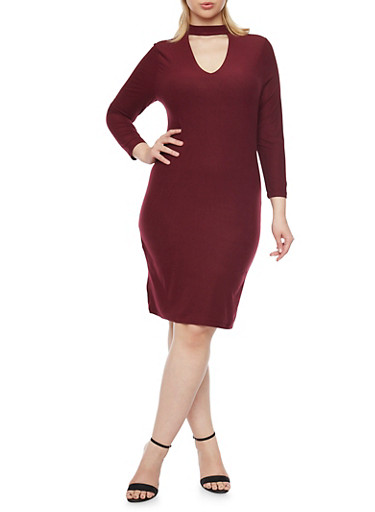 Plus Size Keyhole Long Sleeve Bodycon Dress,BURGUNDY,large