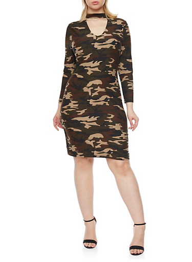 Plus Size Camo Dress with Choker Collar,CAMOUFLAGE,large