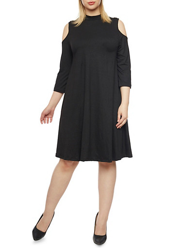 Plus Size Cold Shoulder Mock Neck Swing Dress,BLACK,large
