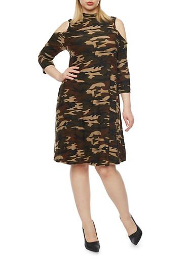 Plus Size Cold Shoulder Camo Swing Dress,CAMOUFLAGE,large
