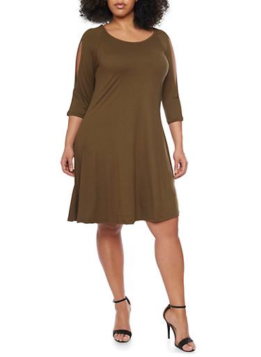 Plus Size Split Sleeve Scoop Neck Swing Dress,OLIVE,large
