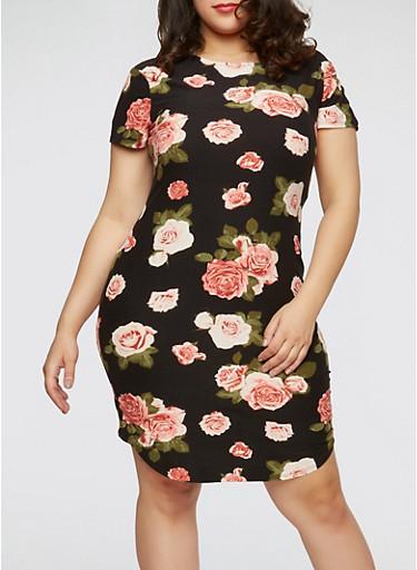 Plus Size Soft Knit Floral Dress,BLACK/PINK,large