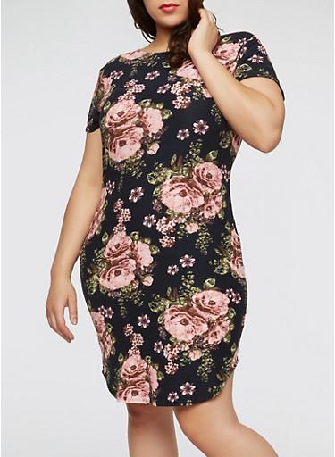 Plus Size Floral Soft Knit Dress,NAVY/PINK,large