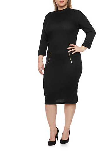 Plus Size Rib Knit Mock Neck Dress with Zipper Accents,BLACK,large