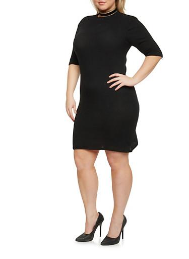 Plus Size Mock Neck T Shirt Dress,BLACK,large