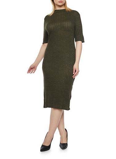 Plus Size Rib Knit Midi Dress,OLIVE,large