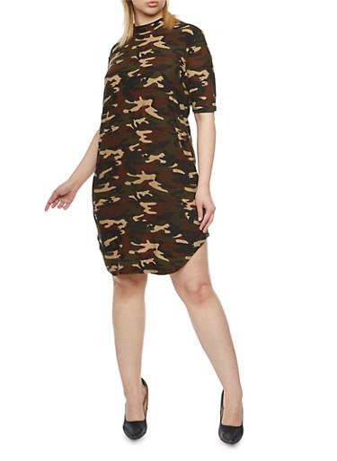 Plus Size Short Sleeve Camo T Shirt Dress,OLIVE,large