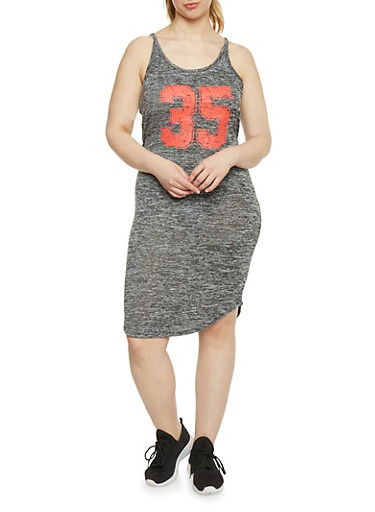 Plus Size Mid Length Tank Top Dress with Back Cutout,RED,large