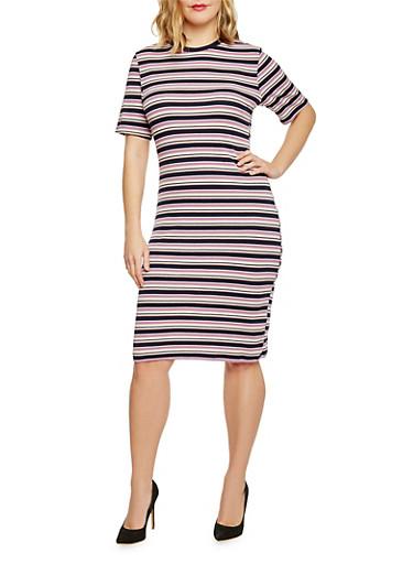 Plus Size Stripe Ribbed Knit T Shirt Dress,MULTI NAVY/MAUVE,large