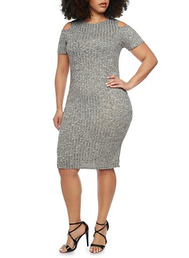 Plus Size Cold Shoulder Marled Rib Knit Dress,GRAY,large