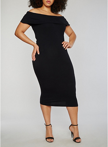 Plus Size Off the Shoulder Rib Knit Midi Dress,BLACK,large