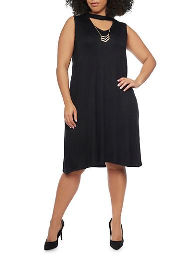 Plus Size Sleeveless Keyhole Cutout Dress with Necklace,BLACK,large