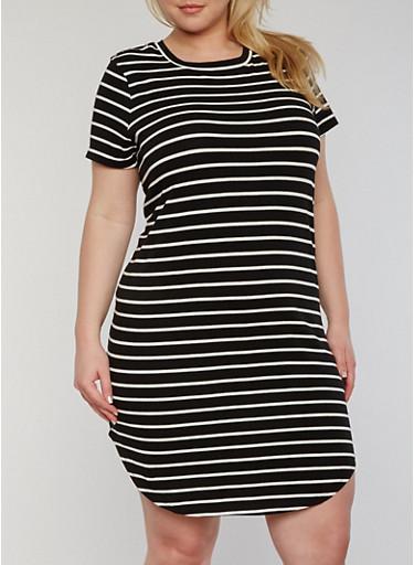 Plus Size Striped T Shirt Dress,BLACK/WHITE,large