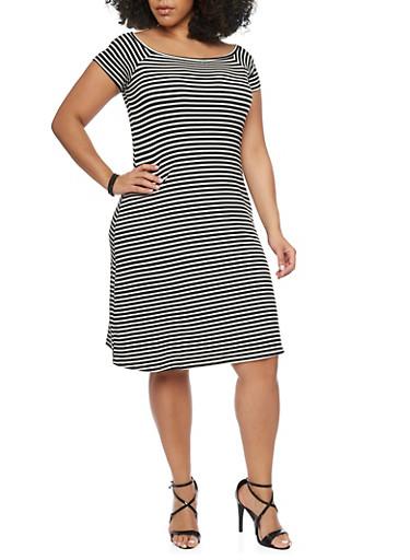 Plus Size Rib Knit Striped T Shirt Dress,BLACK/WHITE,large