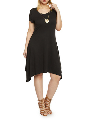Plus Size Sharbite Hem T Shirt Dress with Necklace,BLACK,large