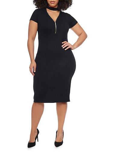 Plus Size Rib Knit Zip V Choker Neckline Midi Dress,BLACK,large