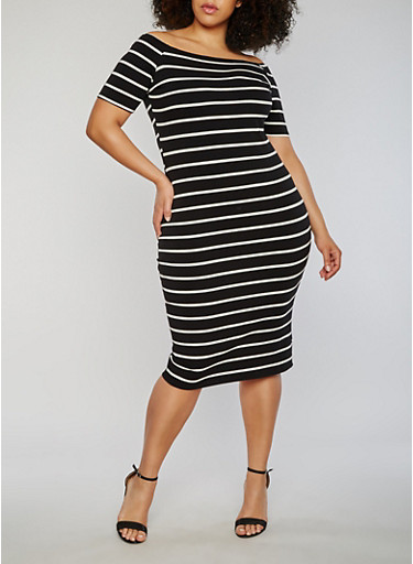 Plus Size Short Sleeve Striped Bodycon Dress,BLACK/WHITE,large