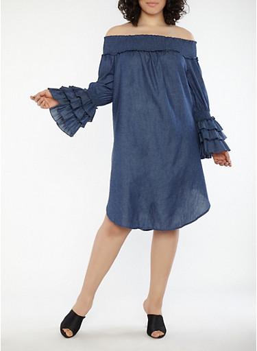 Plus Size Chambray Off the Shoulder Dress,DENIM,large
