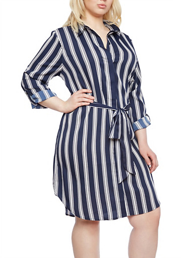 Plus Size Striped Shirt Dress,NAVY/WHITE,large