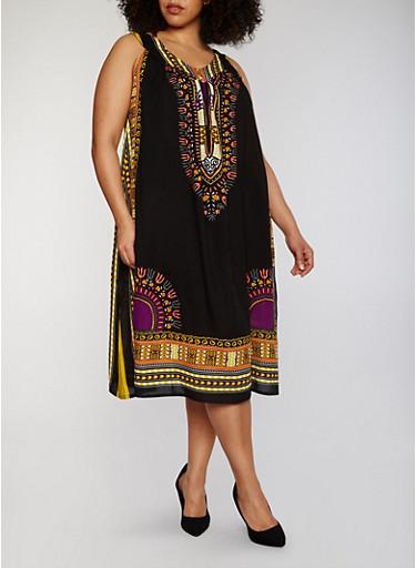 Plus Size Sleeveless Dashiki Print Shift Dress,BLACK,large