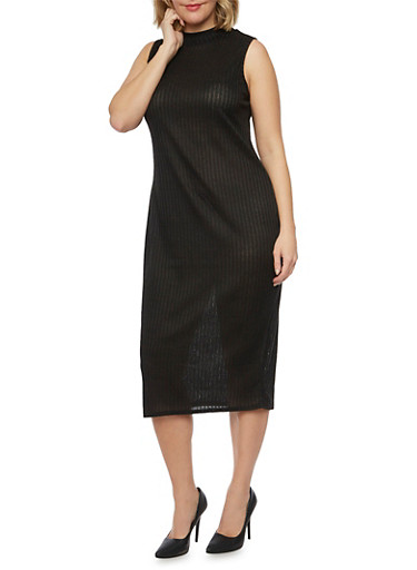 Plus Size Sleeveless Midi Dress in Ribbed Knit,BLACK,large