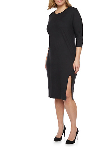 Plus Size Midi Dress with Side Slit,BLACK,large