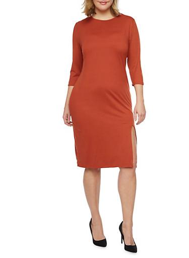 Plus Size Midi Dress with Side Slit,RUST,large