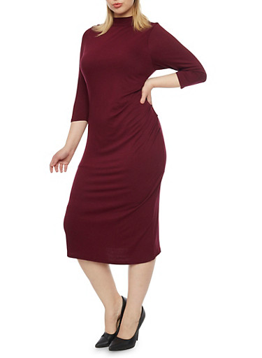 Plus Size Solid Mock Neck Midi Dress,BURGUNDY,large