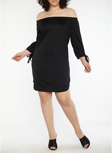 Plus Size Tie Sleeve Off the Shoulder Dress,BLACK,large