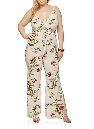 Plus Size Wide Leg Ivory Floral Jumpsuit,IVORY/ROSE,large