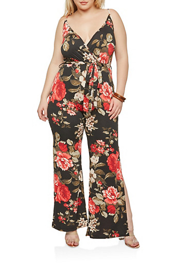 Plus Size Floral Palazzo Jumpsuit,BLACK,large