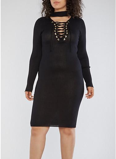Plus Size Rib Knit Lace Up Sweater Dress,BLACK,large