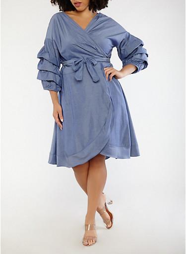 Plus Size Tie Front Chambray Dress,MEDIUM WASH,large