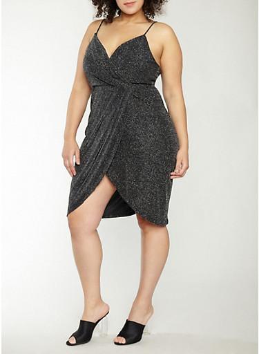 Plus Size Glitter Knit Faux Wrap Dress,BLACK/SILVER,large