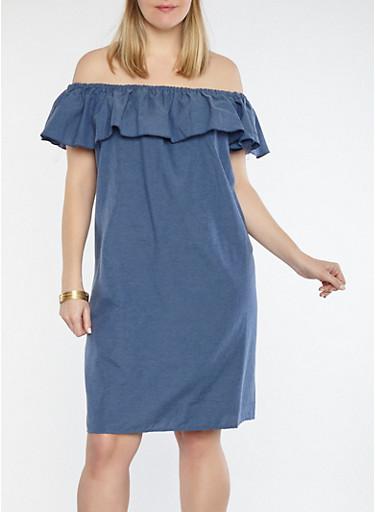 Plus Size Ruffled Chambray Off the Shoulder Dress,MEDIUM BLUE,large