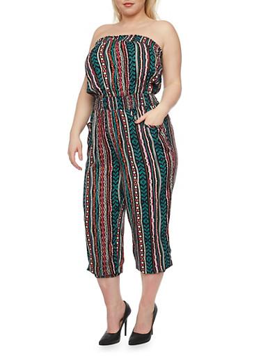 Plus Size Strapless Printed Capri Jumpsuit,JADE/PNK/SALMON,large