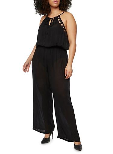 Plus Size Gauze Knit Embroidered Jumpsuit,BLACK,large