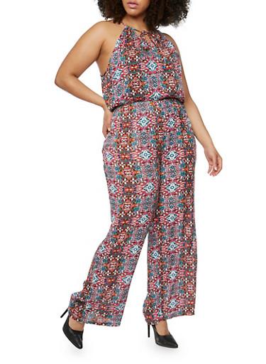 Plus Size Printed Halter Neck Jumpsuit,PINK MULTI,large
