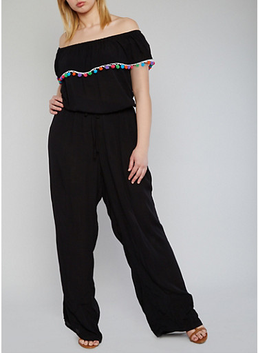 Plus Size Off the Shoulder Jumpsuit with Pom Pom Trimmed Ruffle,BLACK,large