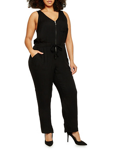 Plus Size Zippered Neck Drawstring Waist Jumpsuit,BLACK,large