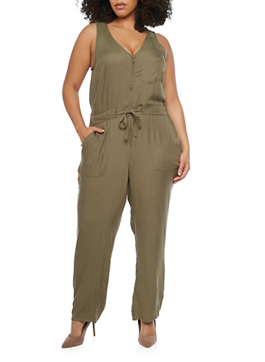 Plus Size Zippered Neck Drawstring Waist Jumpsuit,OLIVE,large