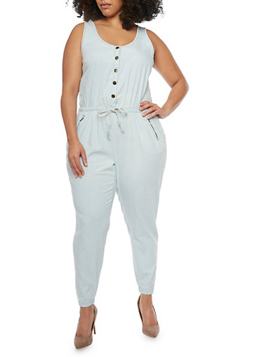 Plus Size Denim Drawstring Waist Jumpsuit,LIGHT WASH,large