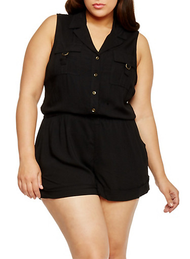 Plus Size Sleeveless Button Front Romper,BLACK,large