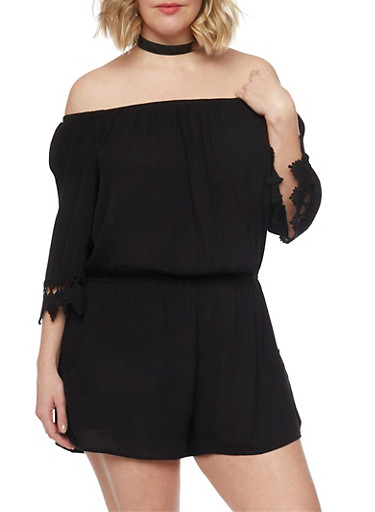 Plus Size Off the Shoulder Romper,BLACK,large