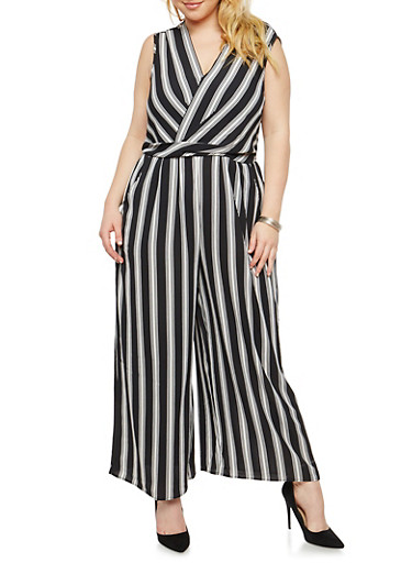 Plus Size Striped Faux Wrap Jumpsuit,BLACK/WHITE,large