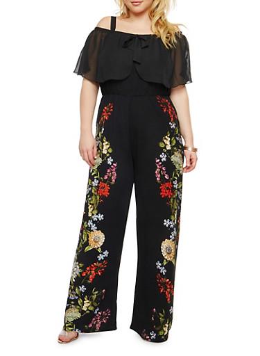 Plus Size Floral Print Off the Shoulder Jumpsuit,BLACK,large