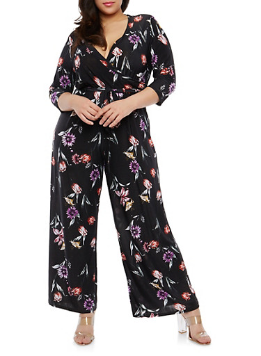 Plus Size Floral Faux Wrap Jumpsuit,BLACK/TULIP,large